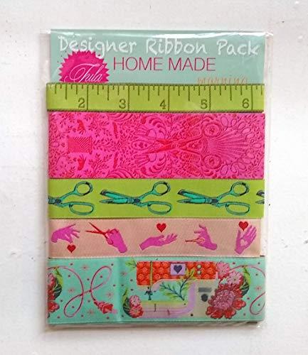 Renaissance Ribbons Designer Pack - Tula Pink's Home Made, Morning Colorway (5 cintas, 1 m cada uno)