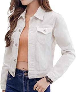 Women's Loose Casual Denim Jackets Long Sleeve Jean Coats Outwear