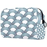Large Makeup Bag Zipper Pouch Travel Cosmetic Organizer for Women and Girls Sashiko Scales White Blue