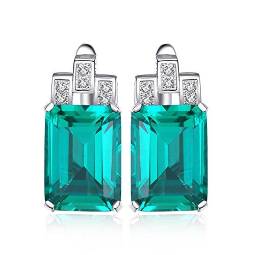 JewelryPalace Lusso 7.6ct Verde Artificiale Nano Russo Smeraldo Hoop Orecchini 925 Argento Sterling
