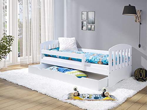 LULU MÖBEL Kinderbett LUKAS 160x80 | Jugendbett Juniorbett Bett Komplett - Bett mit Matratze | Lattenrost und Schublade | für Kinder ab 2 jahren | Mädchen Junge | Kinderzimmer Funktionsbett | Weiß