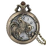 ZHAOXIANGXIANG Reloj De Bolsillo,Retro Bronce Chino Zodiaco