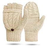 BESTZY Guantes Sin Dedos Mujer Guantes Calientes Sin Dedos Mitones Guantes de invierno para mujeres Guantes Brazo Manoplas sin dedos Mitones de punto Unisex(Albaricoque)