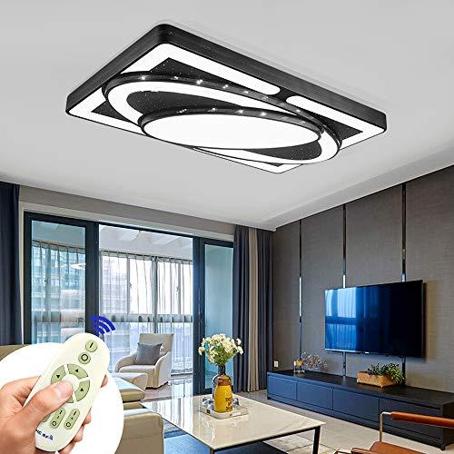 Plafoniera LED Lampada da soffitto 78W Lampada da soggiorno Plafoniere moderne Cucina Bagno Corridoio Camera da letto (Nero, 78W Dimmerabile)