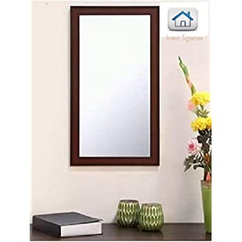 Iconic Signature Frame Brown Sunmica Finish Wood Wall Mirror, Dressing Mirror Solid Brown Water Resistant Wood Made (14.5X26.5 Inch)