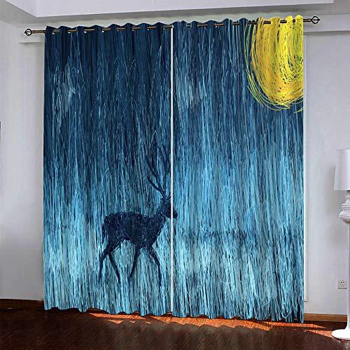 YTSDBB Cortinas Salon Modernas - Pintura al óleo alce azul arte - Ancho 200 x Altura 162 cm Salón Dormitorio Opacas Proteccion Intimidad Aislantes Térmicas Cortinas Ventanas para 100% Poliester 2 Pi