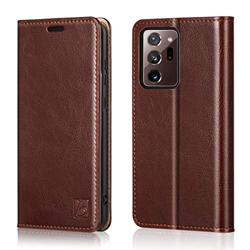 Belemay Wallet Case for Samsung Galaxy Note 20 Ultra 5G, [Cowhide Leather] Flip Folio Cover [RFID Blocking] Card Holder Book Folding Case with Kickstand Slim Fit for Galaxy Note 20 Ultra 5G 6.9' Brown