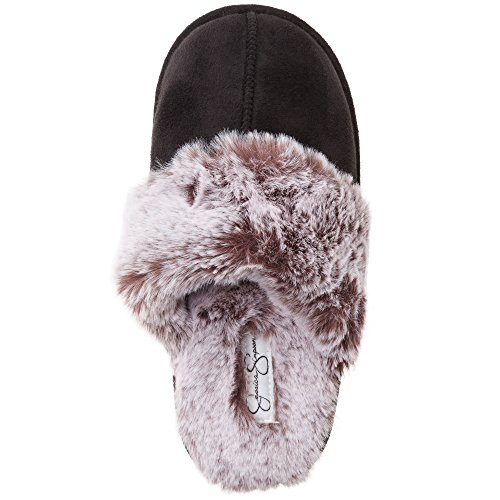 Jessica Simpson Comfy Faux Fur Womens House Slipper Scuff Memory Foam Slip On Anti-Skid Sole (Size Large, Black)