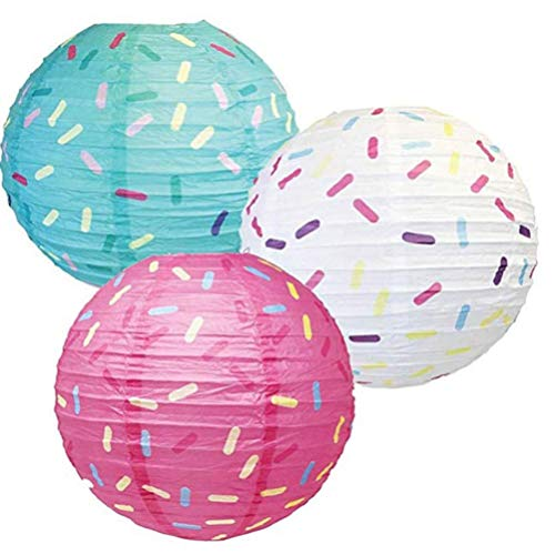 Protección del entorno de seguridad. 3 Piezas Partido dona linternas de papel colgantes, buñuelo de las linternas for el bebé, de 12 pulgadas linternas de papel for la fiesta de cumpleaños de los niño