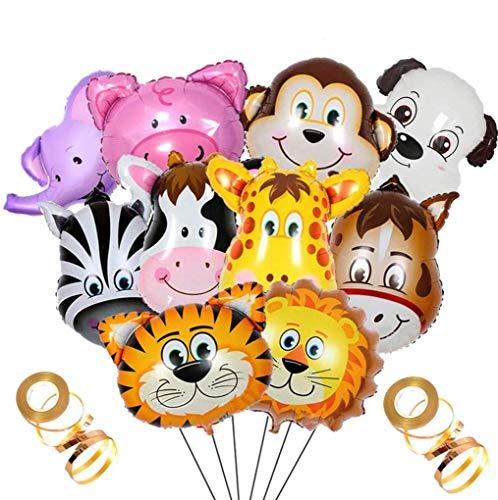 Crazy-M 10 Pezzi di stagnola Set Animali Pallone di Elio, palloni gonfiabili Jungle Animale dell'aerostato della stagnola dell'aerostato per Il Regalo di Compleanno Decorazione del Partito