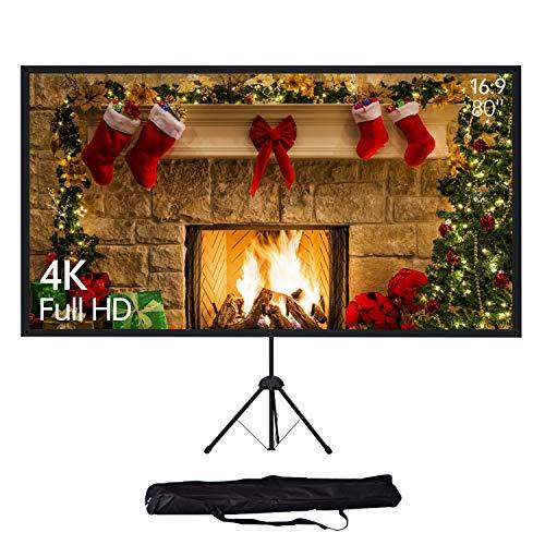 NEUE DAWN 80'' Pulgadas 4K HD Pantalla de Proyector Plegable con Trípode, 16:9 Pantalla de Proyección para Cine en casa, Reunión, Boda, Fiesta, Interiores y Exteriores, Altura Ajustable
