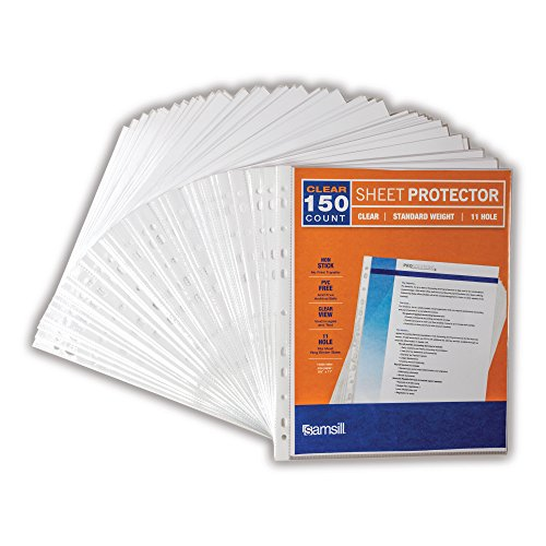 Samsill Standard Weight 11 Hole Clear Sheet Protectors / Acid Free Archival Safe / Polypropylene Sheet / Top Loading Sheet Protectors 8.5 x 11 inches / Box of 150 Page Protectors Bulk / Clear