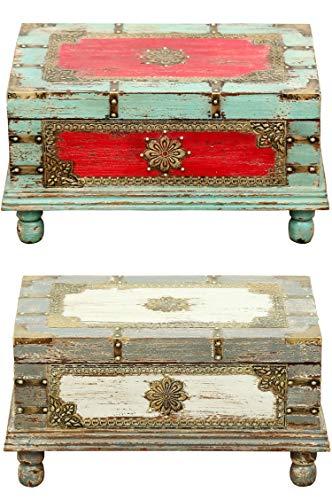 Orientalische Truhe Kiste aus Holz Arjuna Rot - 47cm groß | Vintage Sitzbank mit Aufbewahrung für den Flur | Aufbewahrungsbox mit Deckel im Bad | Betttruhe als Kissenbox oder Deko im Schlafzimmer - 6