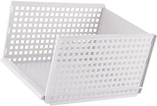 Prettyia Stackable Storage Box - Closet Dresser Drawer Divider Organizer Basket Bins - Wardrobe Partition Board Rack - Whi...