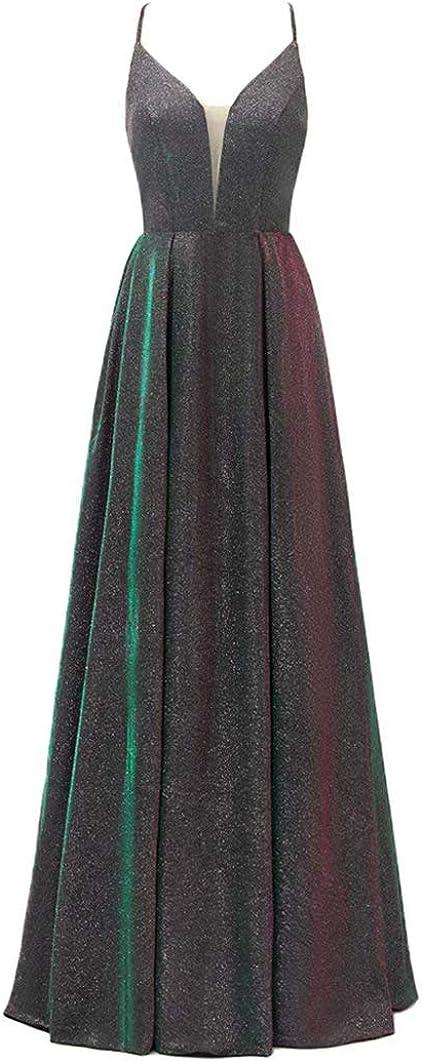 VANLYXCCI Alternative dealer A-Line Glitter Long V-Neck Dresses f with Dedication Prom Pockets