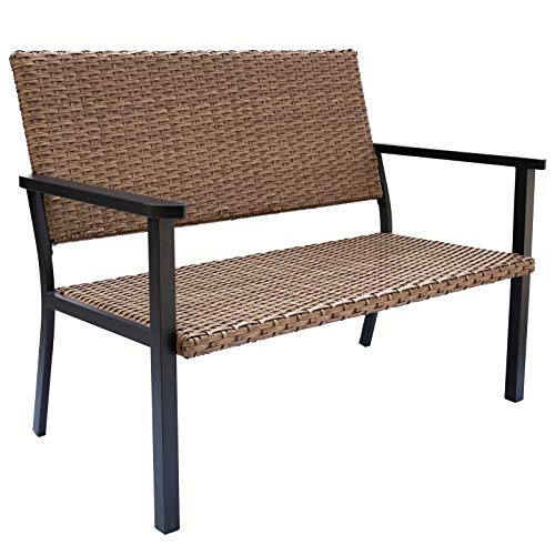C-Hopetree Outdoor Loveseat Chair for Outside Patio Porch, Metal Frame, Natural All Weather Wicker
