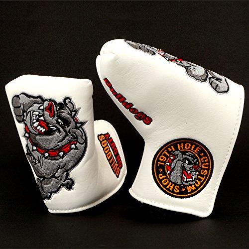 19th Hole Custom Shop Bulldog Golf Headcover for Midsize Mallet Putter, White