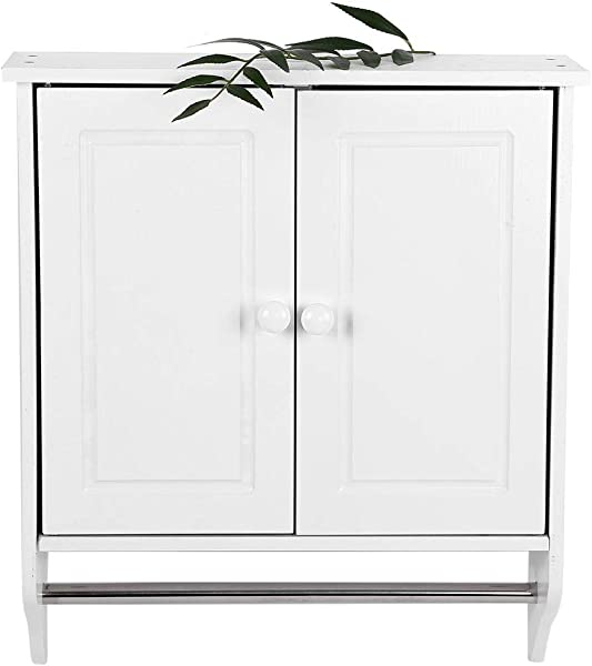 EBTOOLS Bathroom Cabinets Wall Mount Wooden Organizer Towels Clothes Storage Cabinet Open Shelf Bathroom Kitchen Laundry With Double Doors