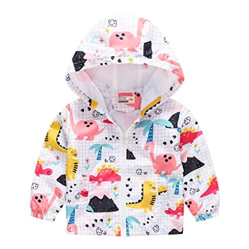 UIYE Toddler Kids Baby Grils Boys Autumn Hooded Jacket Dinosaur Print Cartoon Long Sleeve Windproof Coat with Pockets