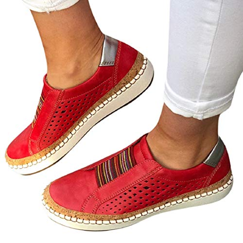 Great Features Of LowProfile Women's Fashion Sneakers Sewing Perforated Slip on Flats Colorful Str...