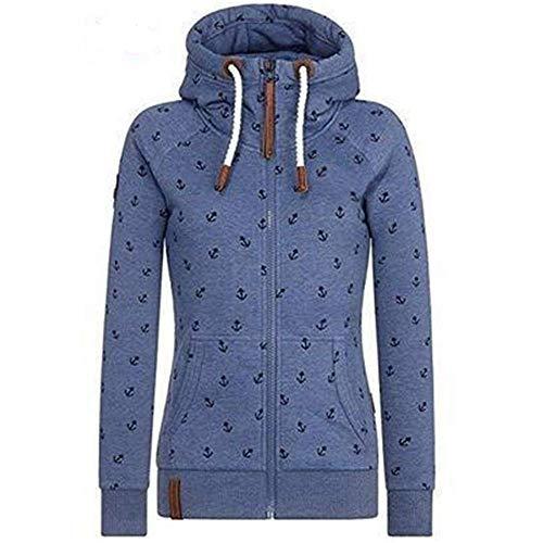 Newbestyle Jacke Damen Sweatjacke Hoodie Sweatshirt Oberteile Damen Pullover Kapuzenpullover Pulli mit Reissverschluss (Blau, XXXL)