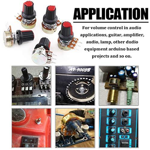 Hilitchi 10 Pcs B1K-B1M Ohm Potentiometer Knurled Shaft 3 Terminals Linear Taper Rotary Potentiometer w/Knob Nuts and Washers Audio B Type