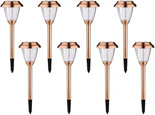 voona Solar Lights Outdoor Pathway - 8 Pack Copper Garden Walkway Lights Solar Powered Waterproof Outdoor Lights for Garden, Lawn, Yard, Walkway, Pathway, Landscaping