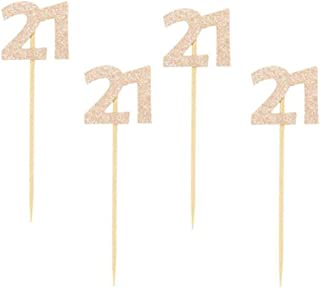 """Glitter Rose Gold 21st Birthday Party Cupcake Toppers. 24 Pack Number 21"""" Cupcake Toppers"""