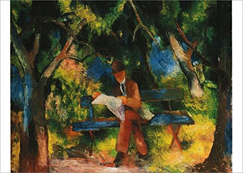 """5er-Packung: Kunstkarte August Macke""""Lesender Mann im Park"""""""