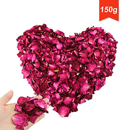 Hslife 150 Grams/ 5.3 OZ Natural Real Red Rose Flower Petals Dried...