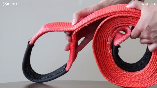 BOKIN Towing Strap 3M Length 2 Inches Width 3T Heavy Duty Tow Rope with Forging Iron Safety Hooks