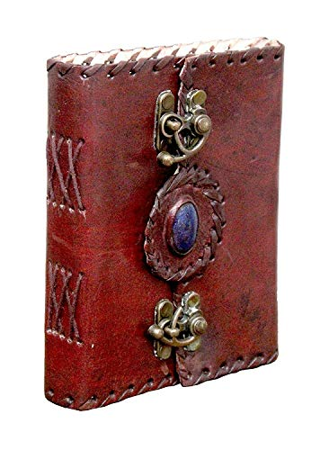 TUZECH Pure Genuine Real Vintage HunterLeather Diary Leather Journal Handmade paper For office Home to Write Poem Daily Update With attractive 2 Metal Lock and Engraved shinning stone 6 Inches