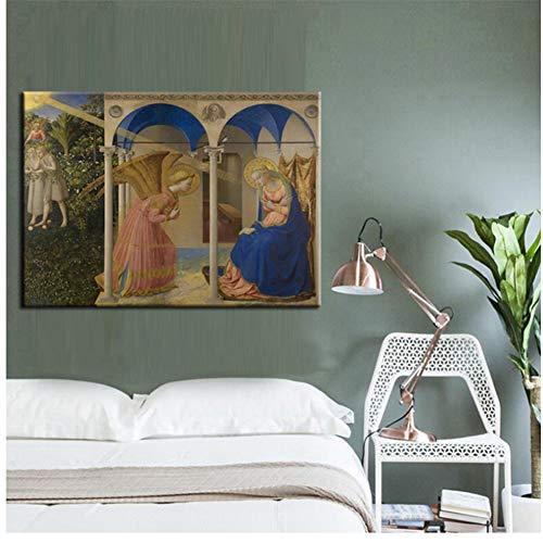ad Pintura renacentista Europea La Anunciación Impreso Lienzo Pintura Arte de la Pared Decoración de la Imagen Imprimir en lienzo-60x90cm Sin Marco