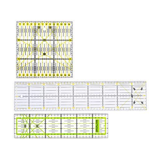 Xiaoyao24 Regla de costura, 3 piezas transparentes para acolchar yarda, reglas de patchwork, reglas de costura y herramientas de corte para manualidades