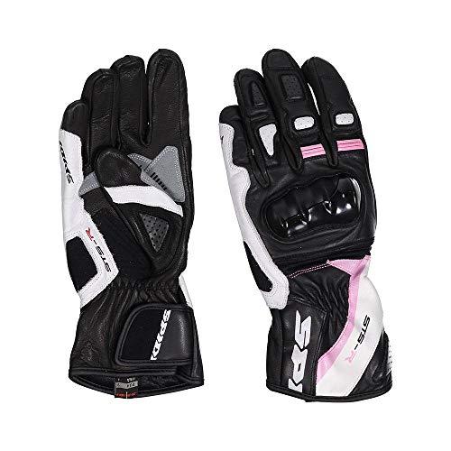 Spidi STS-R - Guantes de piel para mujer, color negro y rosa