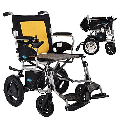 FANGX Silla de Ruedas eléctrica Plegable con baterías de Litio de 24 V, sillas de Ruedas eléctricas Ligeras de aleación de Aluminio de 18 kg, Carga máxima 100 kg / 220IBS, 23km