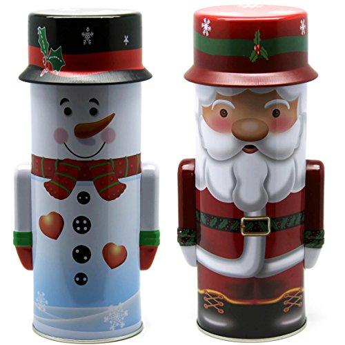 Bada Bing 2er Set Metalldose Schneemann Weihnachtsmann Keksdose Plätzchendose Weihnachtsdose Weihnachten Nikolaus 04