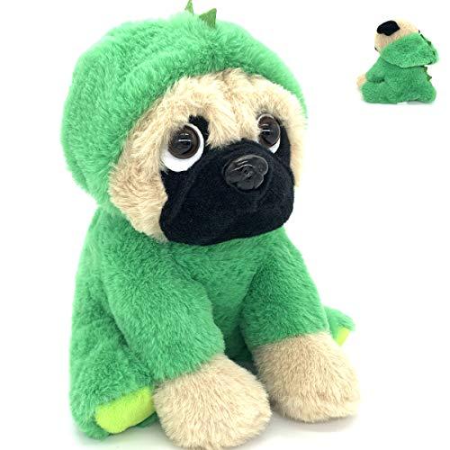 JoyAmigo Pug Stuffed Animal Plush Dog Puppy Soft Cuddly Toy in Costumes Dressed As Dinosaur - Super Cute Quality Teddy Plush 10 Inch
