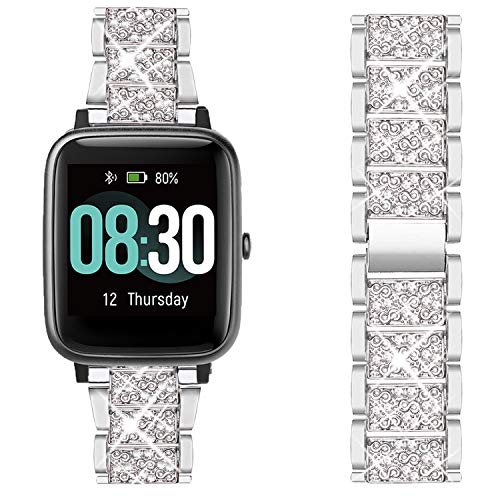 Giaogor Armband Kompatibel für Umidigi Uwatch3, Damen Metall Band Premium Edelstahl Bracelet Gurt für Uwatch 3,Uwatch Ufit,Uwatch GT,ID205,ID205L,ID215G,ID205U,ID205S Smartwatch (Silber)