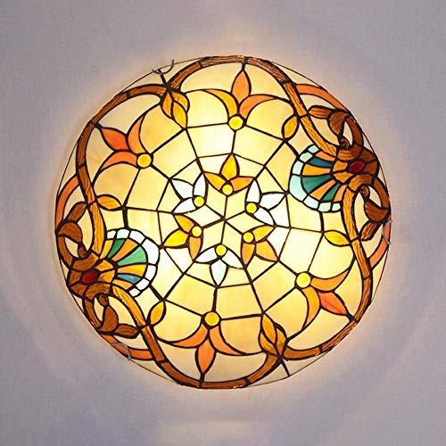 TANKKWEQ Soporte de descarga barroca, lámpara de techo de vidrio con techo redondo, decoración retro, accesorios de iluminación de techo para dormitorio, sala de estar, E27,40 cm (Color : 40cm)