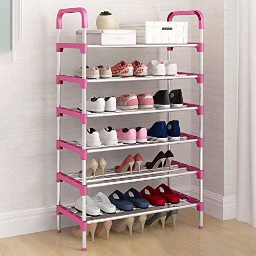 DXMRWJ Armario para Zapatos Multicapa, Puerta de Montaje en el hogar Simple, Armario para Zapatos, Armario de Entrada Simple y Moderno, Estante a Prueba de Polvo para Dormitorio económico, Color ro