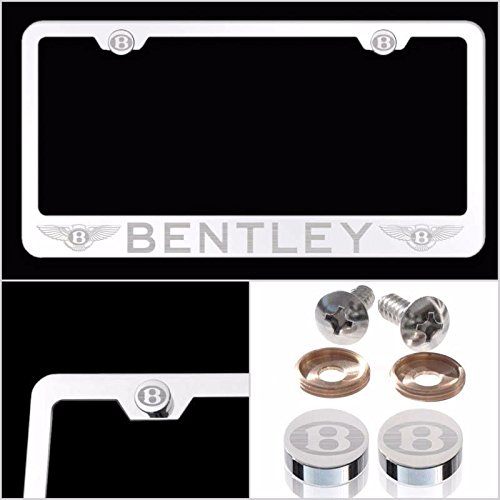 UFRAME Fit Bentley Laser Engraved License Plate Frame Made of Industrial Grade Mirror Finished Chrome Stainless Steel w/Caps and Accessories
