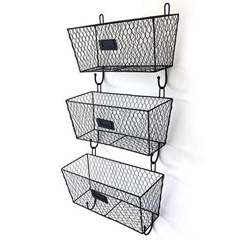 AlwaysPrekit 3 Pocket Mesh Wall Mount hangmappenhouder Organizer Wire Briefpost Mount Metal Rack Basket Badkamer Tower Manden gemonteerd op muur en deur for kantoor, thuis en werk Black ZHW345