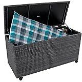 nxtbuy Auflagenbox MIRANO aus Alu/Kunststoffgeflecht in grau 277 Liter Fassungsvermögen wasserfeste Gartenbox mit Rollen und Gasdruckfeder-Deckel