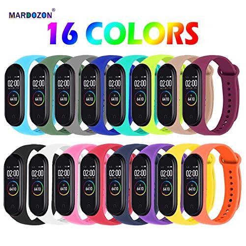 Mardozon Cinturino per Xiaomi Mi Band 4 /Mi Band 3, Cinturini in Silicone Colorato di Ricambio Accessori Compatibile con Mi Smart Band 4 Braccialetto (Set A: 16 Pezzi)