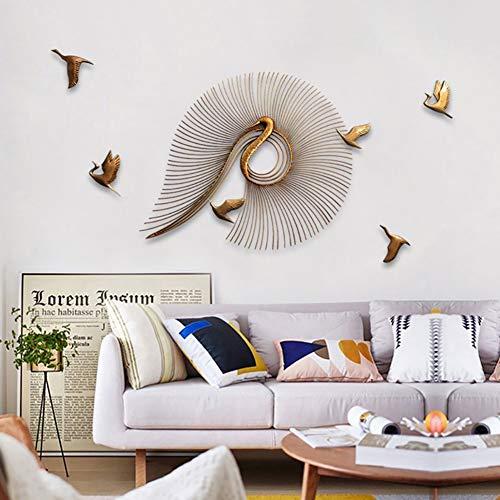 WLHER Metall Wanddeko - Abstrakter Kreativer Pfau- Tierische 3D Wandbilder Wandschmuck, Dreidimensionale Metallhintergrund-Wanddekoration Antikes Gold,80cm