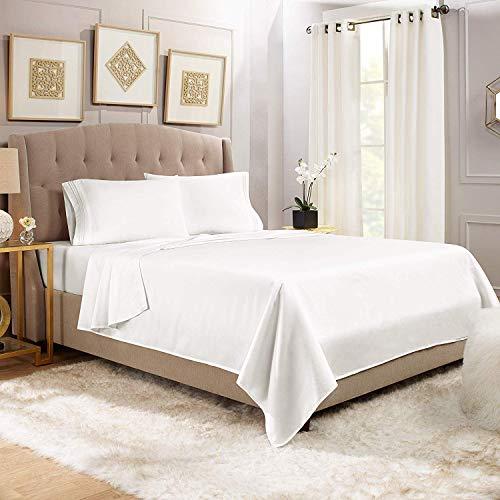 Clara Clark California King 1800 Thread Count Egyptian Quality Sheet Set in White