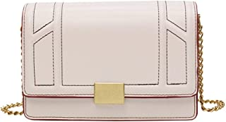 New Exquisite Trend Casual Fashion Portable Slung Shoulder Small PU Handbag. jszzz (Color : Beige)