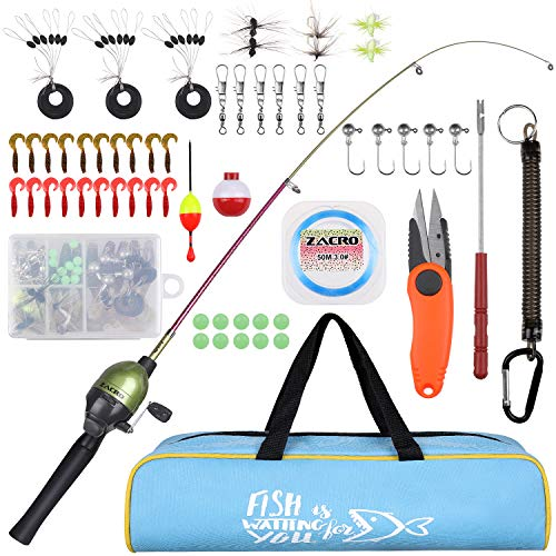 Zacro Angel Set für Kinder, Angelrute Fishing Rod 59 Teiliges Set-mit Tragbare Teleskop Forellenfarbe Angelrute und Angelrolle komplettes Set