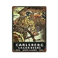 カールスバーグラガービールライトアンドダークさびた錫のサインヴィンテージアルミニウムプラークアートポスター装飾面白い鉄の絵の個性安全標識警告アニメゲームフィルムバースクールカフェ